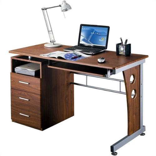 Techni Mobili Laminate Computer Desk in Mahogany