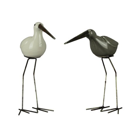 White and Brown Ceramic Shore Bird Statues with Metal Legs Set of 2 ()