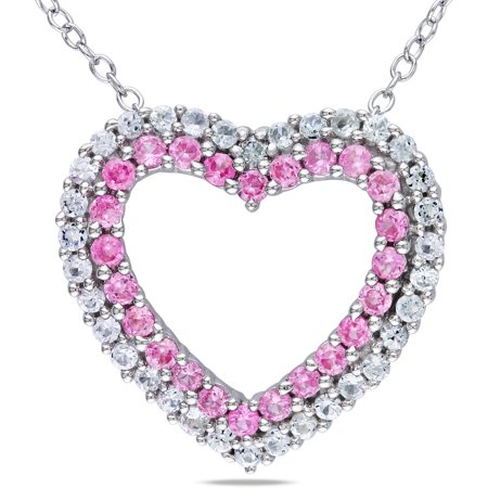1-3/8 Carat T.G.W. Created Pink and White Sapphire and Diamond-Accent Sterling Silver Heart Pendant,
