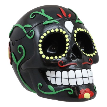 Ebros Dulce De Muerte Day of The Dead Sugar Skull Ashtray Tribal Tattoo Skull Jewelry Box Figurine 6