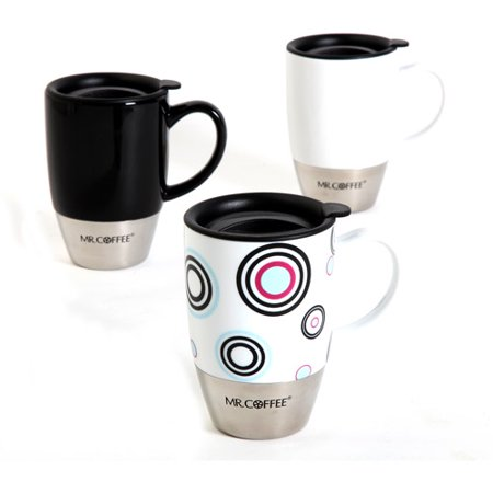 Mr. Coffee Couplet 15 oz Mugs with Lids, Set of 3