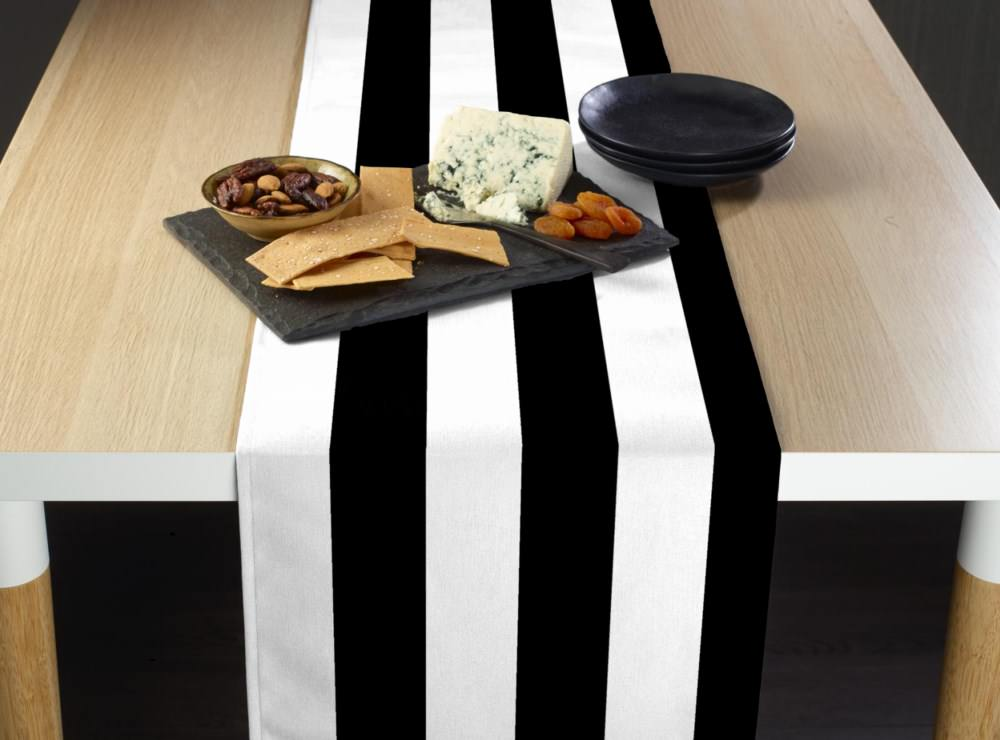 """20 Black and white Table Runner 108/"""" 3D Black White Striped satin runners"""