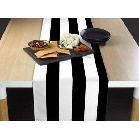 "Black & White Cabana Stripe Table Runner 12""x72"""