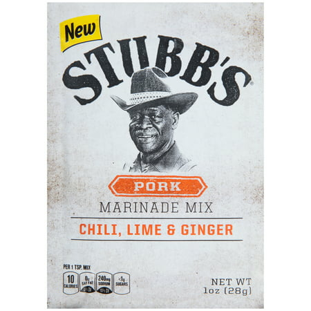 (4 Pack) Stubb's Chili, Lime & Ginger Pork Marinade Mix, 1 oz