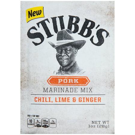 (4 Pack) Stubb's Chili, Lime & Ginger Pork Marinade Mix, 1 oz
