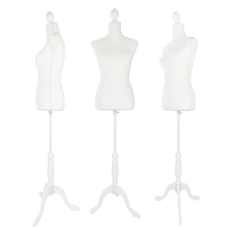 Ktaxon Female Dress Form Pinnable Mannequin Body Torso with Hollow Foam Tripod Base Stand White ()