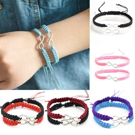 Moderna 2Pcs/Set Handmade 8 Infinity Charm Braided Bracelet Friendship Couple Jewelry (Friend Ship Bracelets)