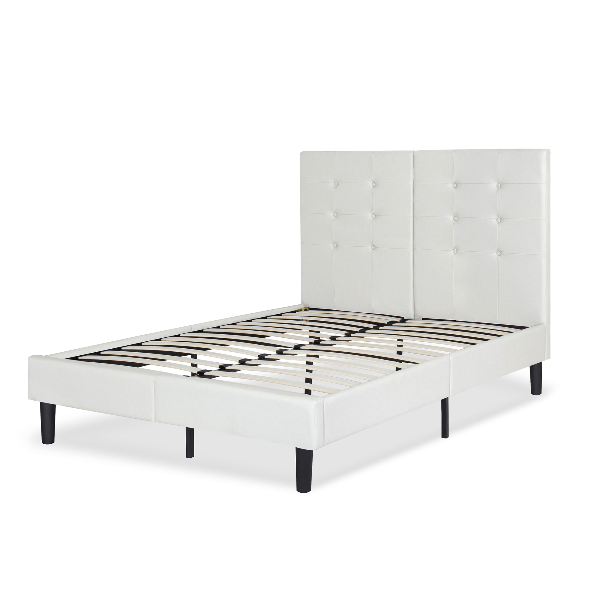 "GranRest 14"" Dura Metal Faux Leather Platform Bed Frame, Gray, Full by Grantec Co.; Ltd"