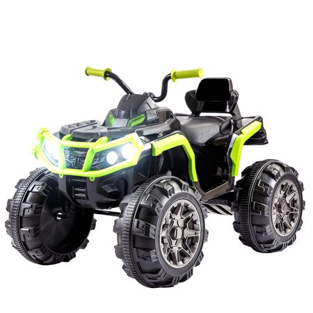 Top Knobs 12V Kids Powered Electric ATV Quad Ride on Car Toy with 2 Speeds, LED Lights, MP3, AUX ()