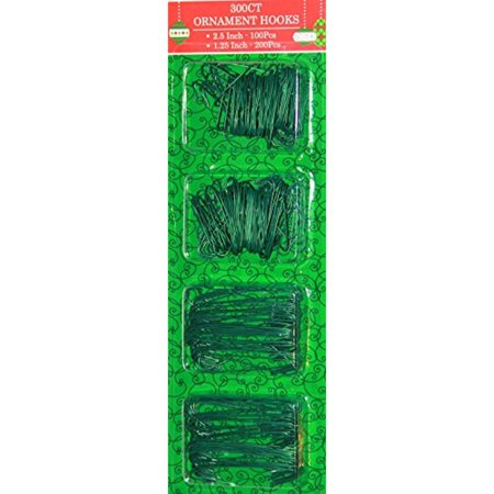 - 300 Green Ornament Hooks in 2 Sizes (300, Green)