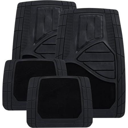 Auto Drive Black Heavy Duty Universal Fit Floor Mat Set 4