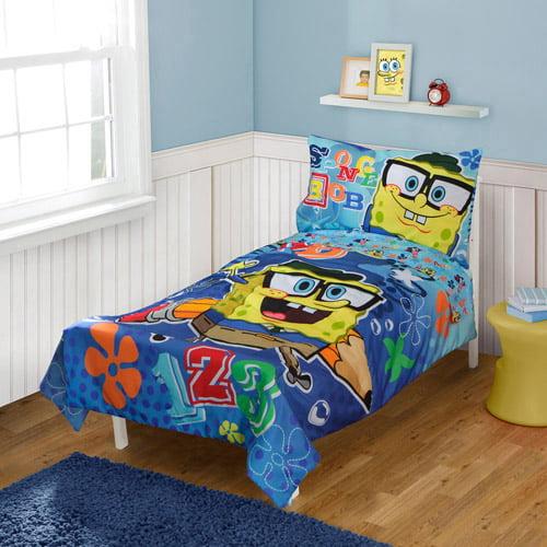 Spongebob Squarepants 4 pc Toddler Bedding Set