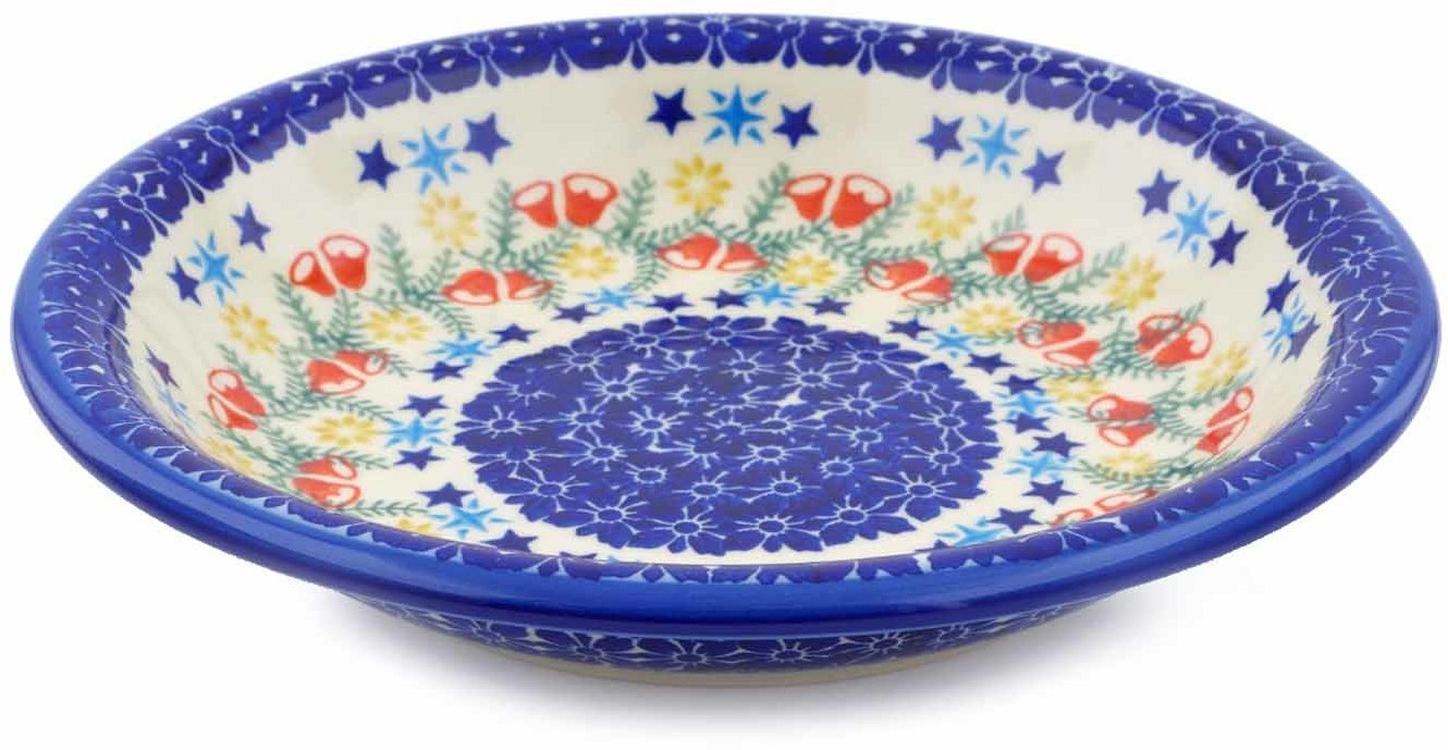 Polish Pottery 9-inch Pasta Bowl (Wreath Of Bealls Theme) Hand Painted in Boleslawiec, Poland + Certificate of... by Ceramika Bona