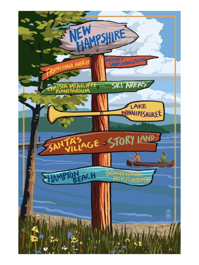 New Hampshire Sign Destinations Art Print By Lantern Press by Art.com