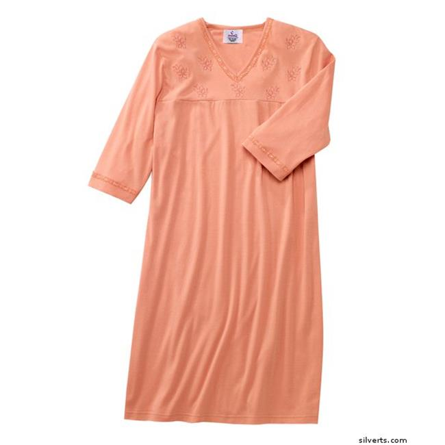 Silverts 260400202 Womens Adaptive Hospital Attractive Patient Gowns, Coral - Medium