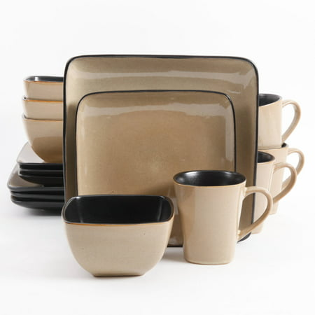 Gibson Everyday Rave Square 16-Piece Dinnerware Set, Taupe ()