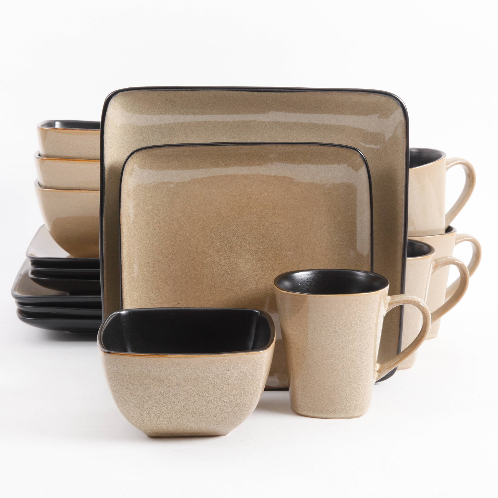 Gibson Everyday Rave Square 16-Piece Dinnerware Set Taupe  sc 1 st  Walmart & nonConfig