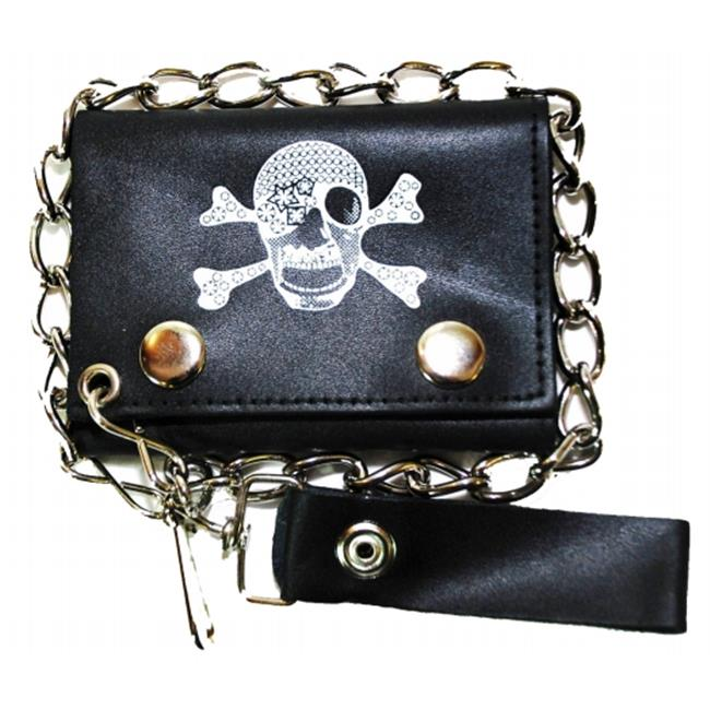 Leather In Chicago LICWB4-PSK400 Trifold Chain Wallet 4.5 x 3 in. Pirate Skull with Bandanna