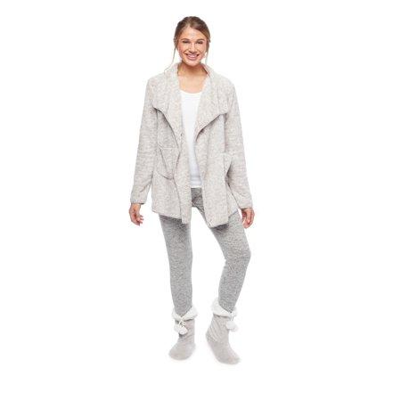 Fleece Lined Cardigan (Cozy Fleece LLC Ultrasoft Plush Lounge Cardigan with)