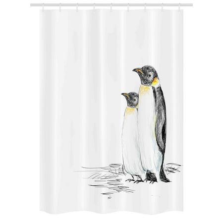 Sea Animals Stall Shower Curtain, Hand Drawn Art Penguins Aquatic Flightless Birds Polar South Pole Wildlife, Fabric Bathroom Set with Hooks, 54W X 78L Inches, Black White, by Ambesonne