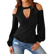 Women Hollow Out Cold Shoulder Solid Color Long Sleeve Top