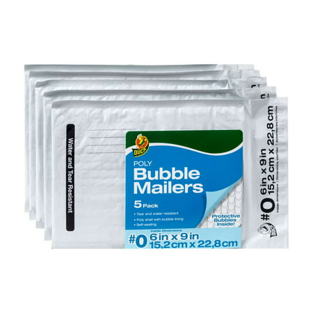 (2 Pack) Duck Poly Bubble Mailer, #0 (6 in. x 9 in.), Self-Sealing, 5-Count