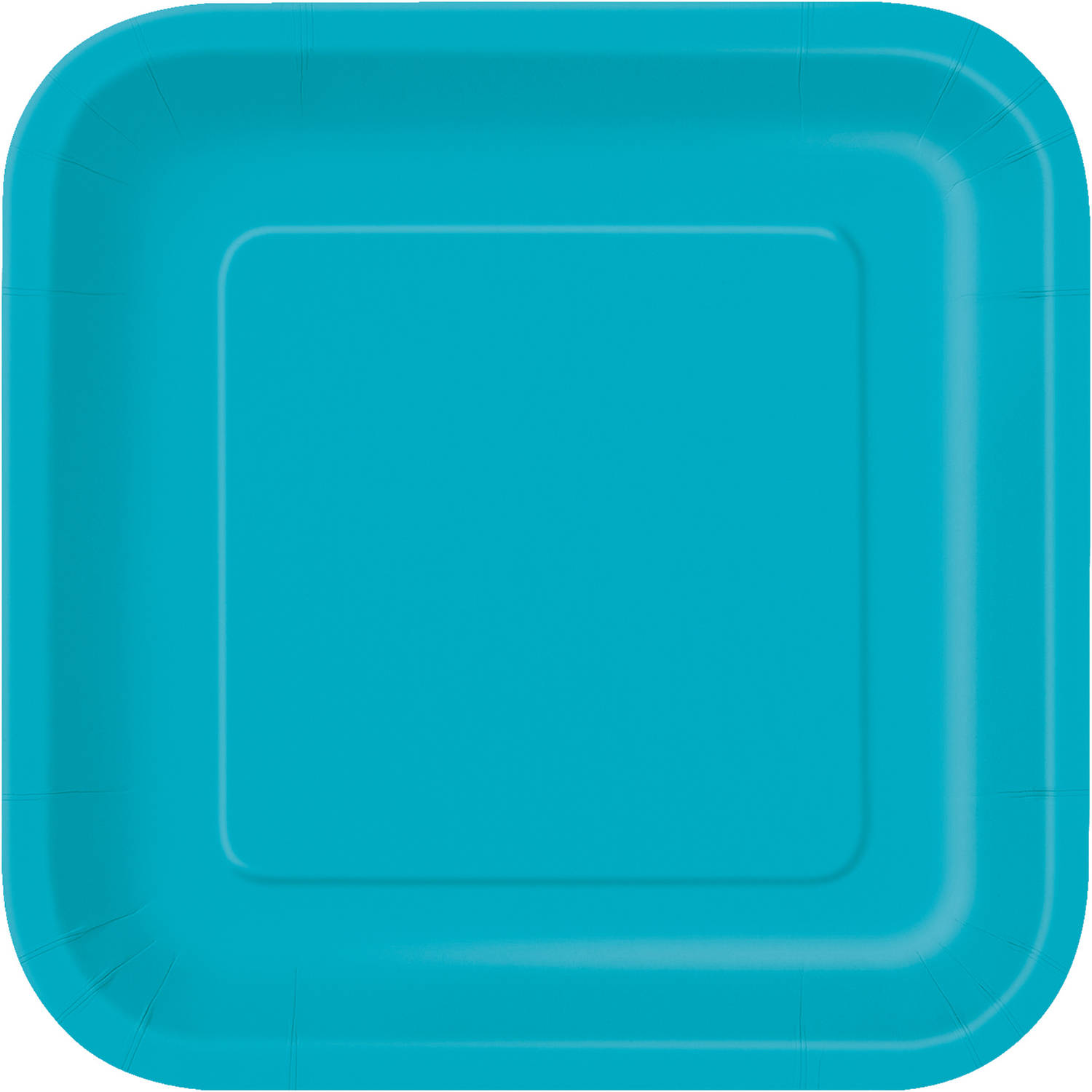 Square Paper Plates, 7 in, Teal, 16ct