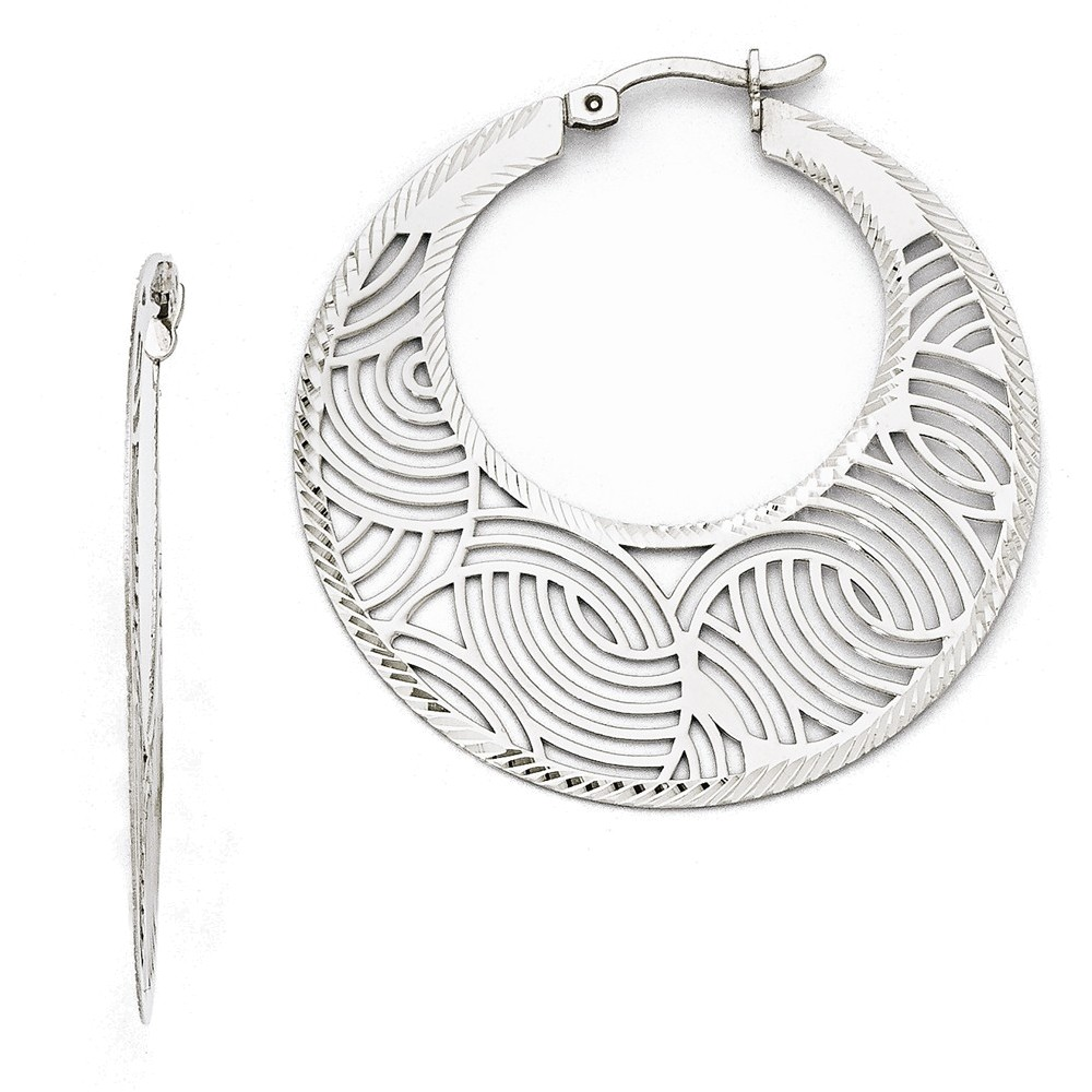 Leslies Sterling Silver Fancy Polished Cut-out Large Hoop Earrings