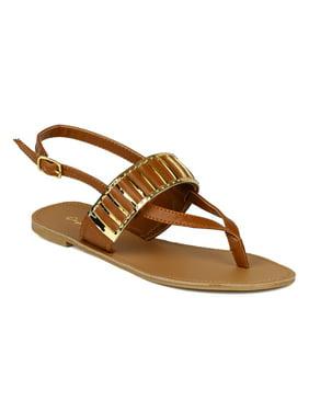 7719eeaef4b4 Product Image Qupid BK75 Women Metallic Embellished Slingback Thong Flat  Sandal