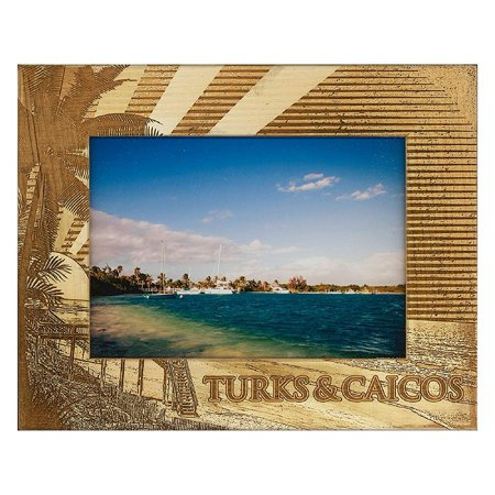 Turks and Caicos Laser Engraved Wood Picture Frame (5 x -