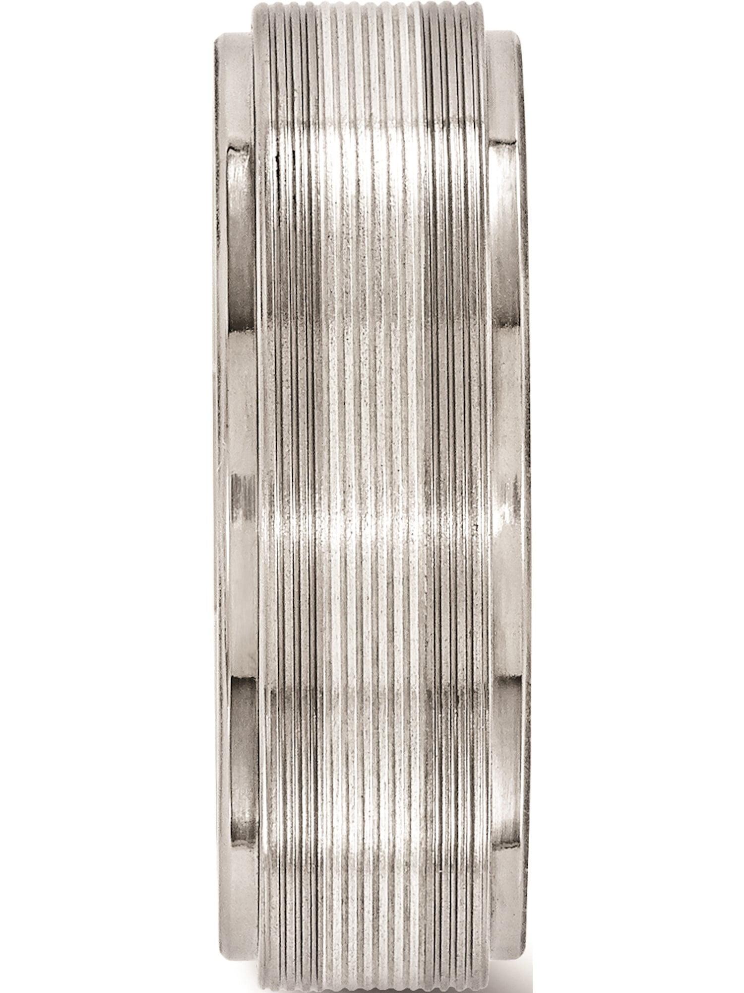 Edward Mirell Titanium w//14k White Gold Textured Lines 7.5mm Band