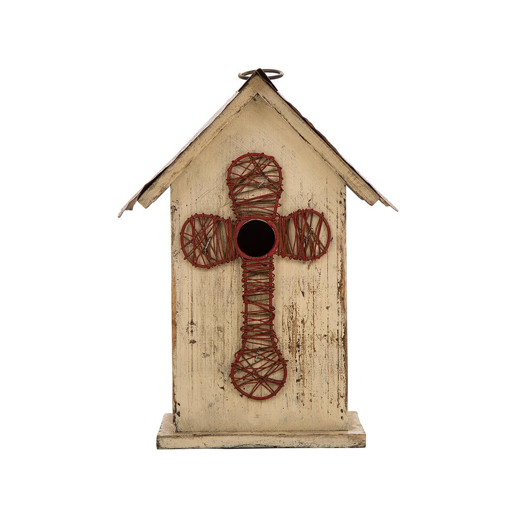 "Glitzhome 11.02"" H Distressed Cross Design Wooden Garden Decor Bird House"