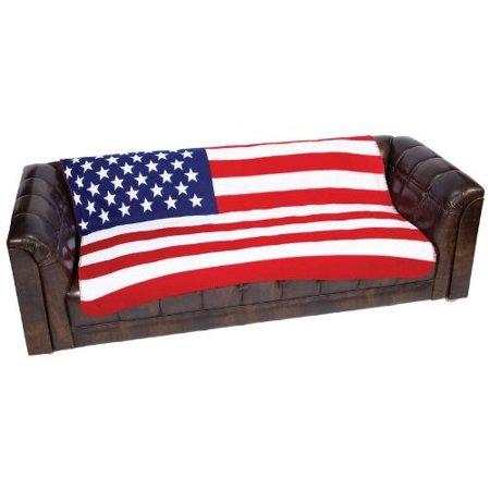 United States Flag Print Fleece Throw ()