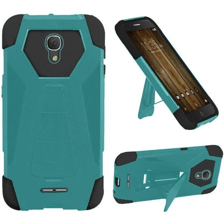 Alcatel One Touch Allura case, Alcatel Fierce 4 case, by Insten Dual Layer [Shock Absorbing] Hybrid Stand Hard Plastic/Soft Silicone Case Cover For Alcatel One Touch Allura/Fierce 4, Teal/Black ()