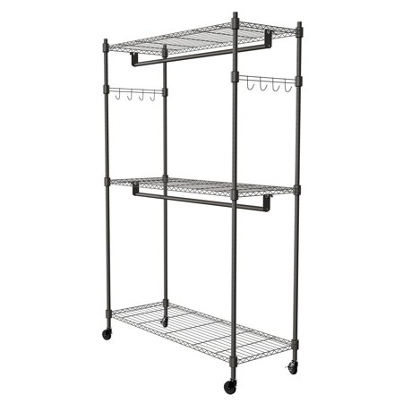 3-Tier Rolling Closet Garment Rack with Double Rod, Lockable Wheels and Side Hooks - Heavy Duty Clothes Rack Closet Storage Organizer (US STOCK)