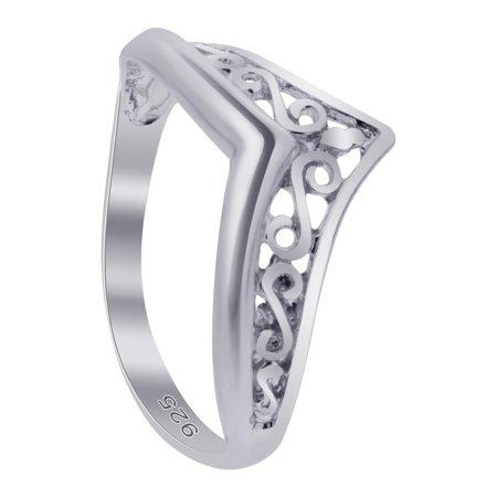 Filigree Stone (Gem Avenue 925 Sterling Silver Filigree Design Thumb Ring)