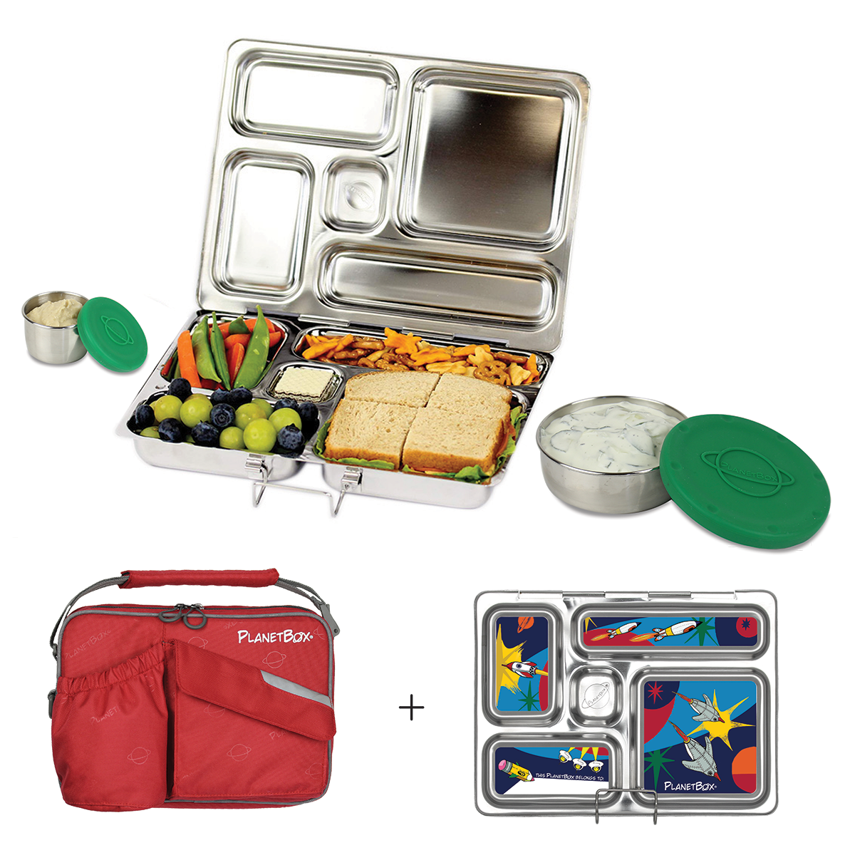 PlanetBox Rover Lunchbox - Red Carry Bag with Rocket Magnets