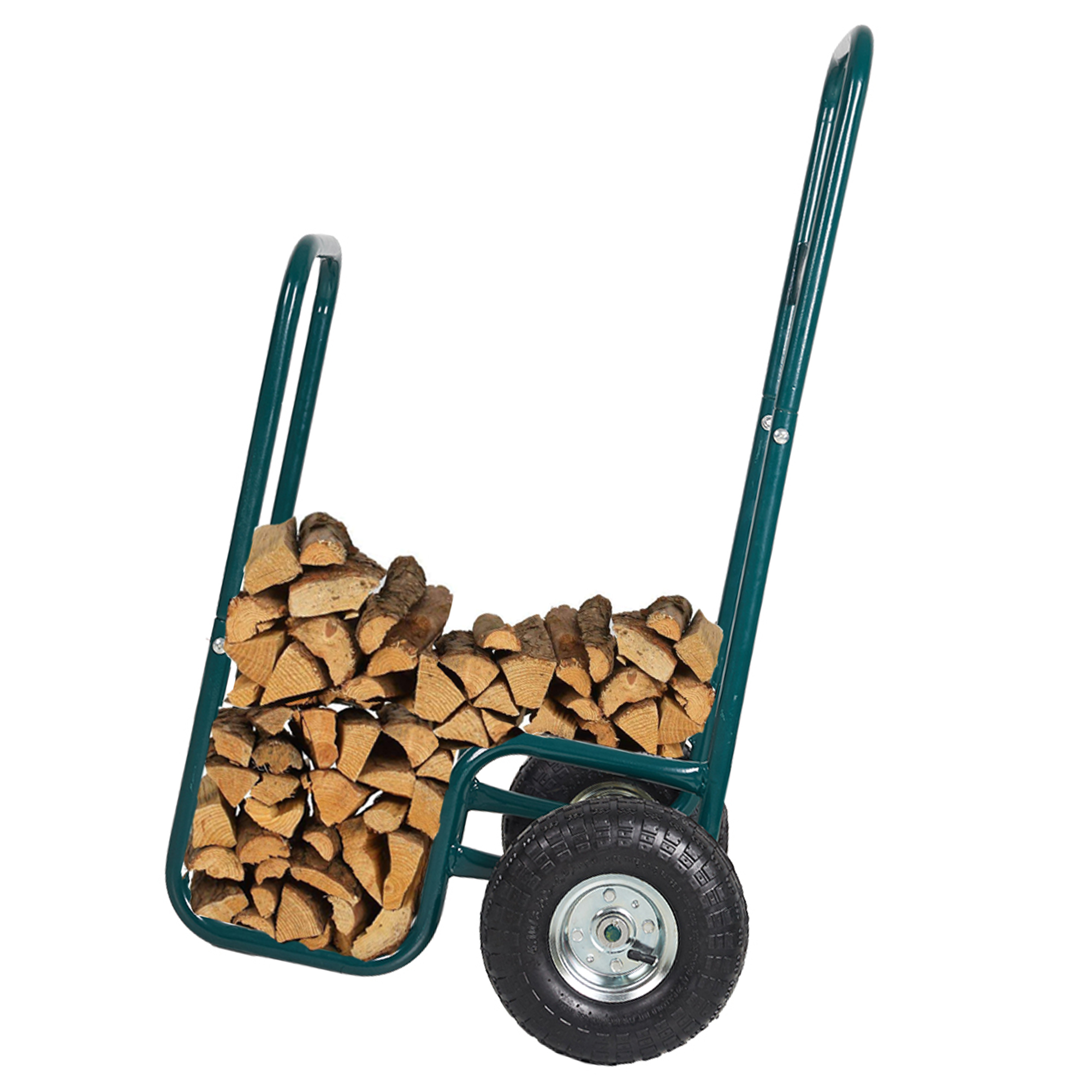 Karmas Product Firewood Log Rack Carrier Cart-220 LB Weight Capacity Wood Rack Storage Mover with Rolling Wheel for Indoor & Outdoor Use