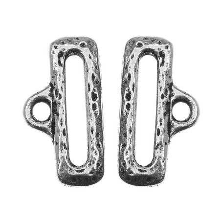 TierraCast Pewter, Hammered Ribbon Ends with Loop 1/2 Inch, 2 Pieces, Silver (Plated Ribbon End)