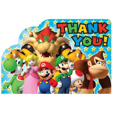 Super Mario Brothers Postcard Thank You Cards [8 in pack] - Mario Cards