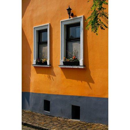 L N Stick Poster Of House Orange Window Color Windows Balcony 24x16 Adhesive Sticker Print