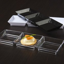 Emi Yoshi Relish Dish - Clear Plastic Mini Triple Abyss Dish 10 Ct., By EMI Yoshi Ship from US
