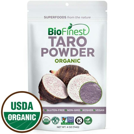 Biofinest Taro Powder -100% Pure Antioxidants Superfood - USDA Certified Organic Kosher Vegan Raw Non-GMO - Boost Digestion Weight Loss Detox - For Smoothie Bubble Tea Beverage (4 oz Resealable (Tea Smoothie)