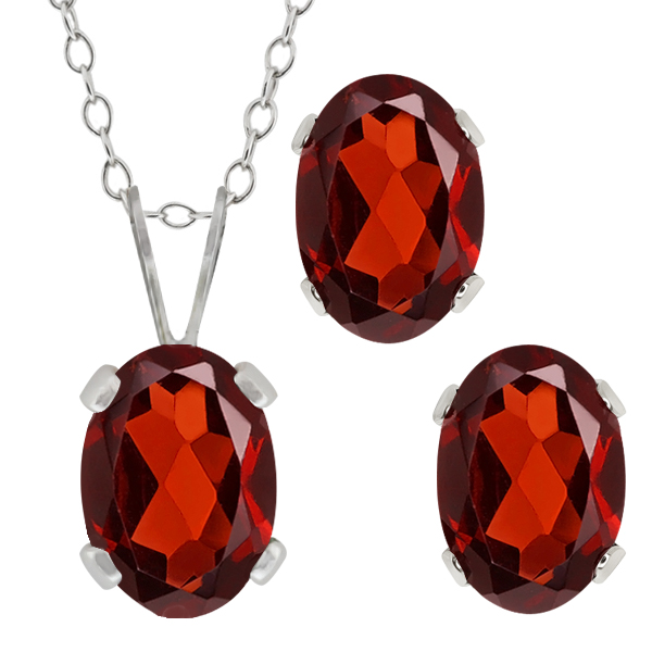 2.00 Ct Genuine Oval Red Garnet Gemstone Sterling Silver Pendant Earrings Set