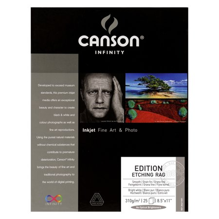 Edition Etching Rag - Canson Infinity Edition Etching Rag Photo Paper, 8.5in x 11in, 25 Sheets/Pkg.