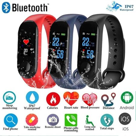 Weefy Waterproof Bluetooth Smart Band Watch Bracelet Wristband Color Screen Fitness Tracker Blood Pressure Wearable