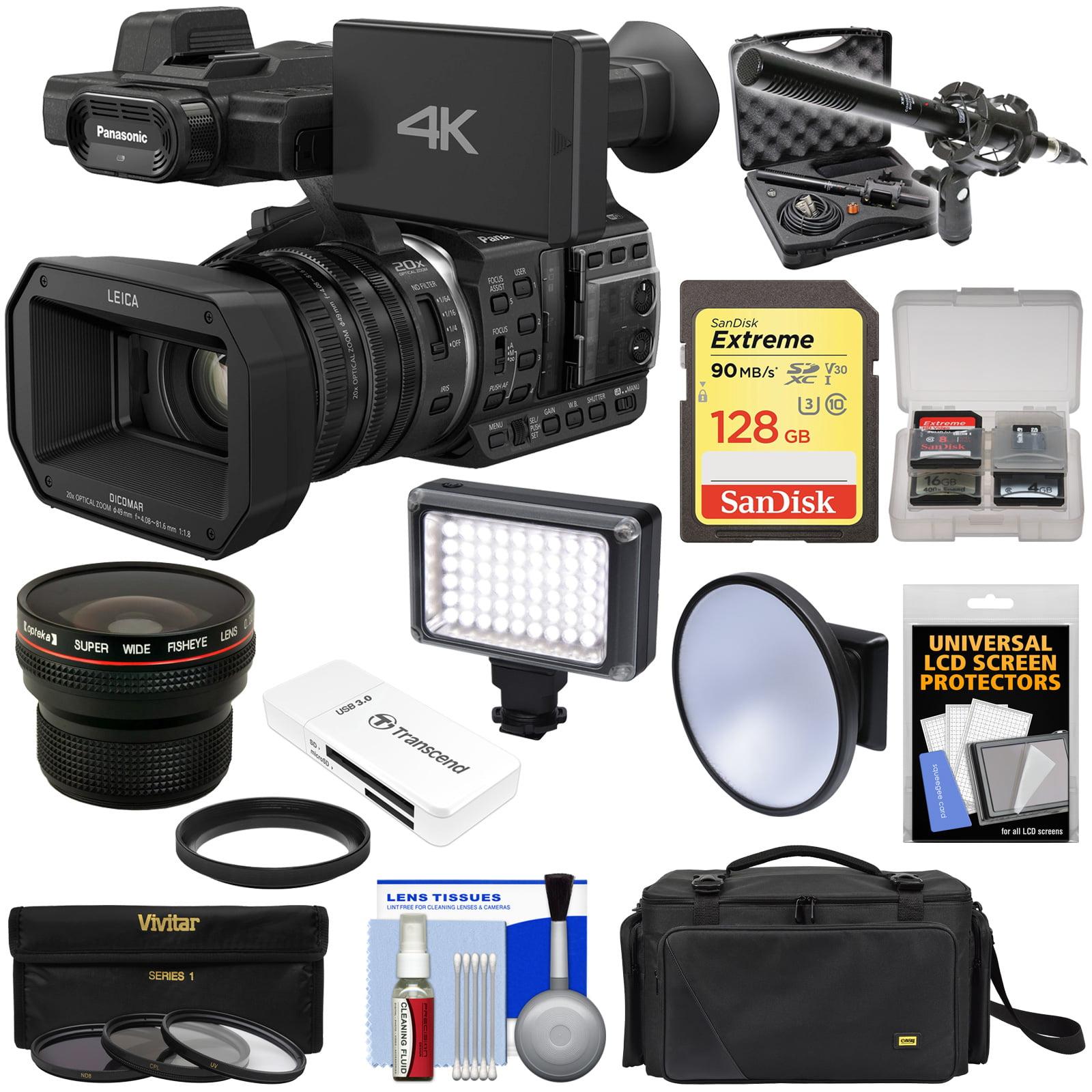 Panasonic HC-X1000 4K Ultra HD Wi-Fi Video Camera Camcorder with Fisheye Lens + 128GB Card + Case + LED Light... by Panasonic