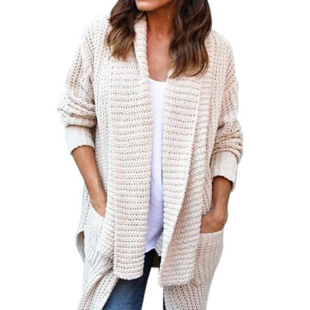 c87e792c6d8 Women's Knitted Sweater Long Sleeve Cardigan Knitwear Jumper Oversized  Outwear Coat Jacket
