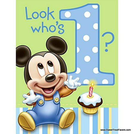 Mickey Mouse Baby 1st Birthday Edible Icing Image Cake Topper for 1/4 sheet