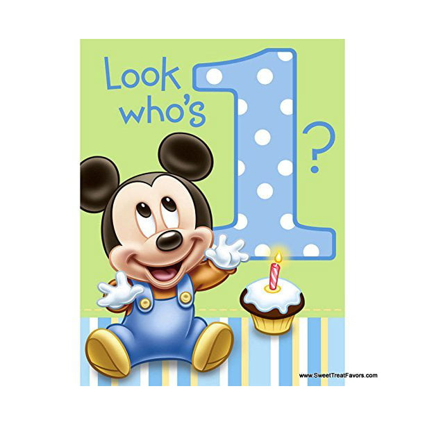 Mickey Mouse Baby 1st Birthday Edible Icing Image Cake Topper For 1 4 Sheet Cake Walmart Com Walmart Com